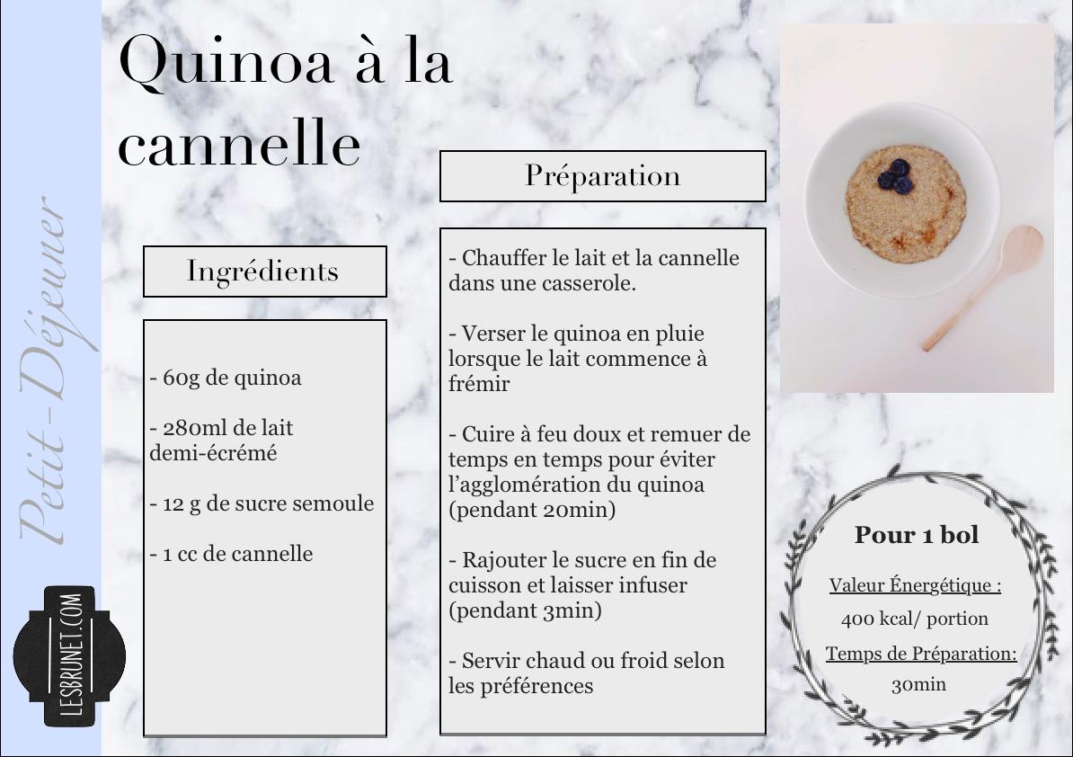 Fiche recette Quinoa à la canelle